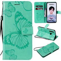 Embossing 3D Butterfly Leather Wallet Case for Huawei nova 4 - Green