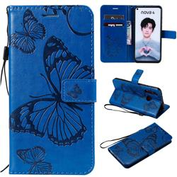 Embossing 3D Butterfly Leather Wallet Case for Huawei nova 4 - Blue