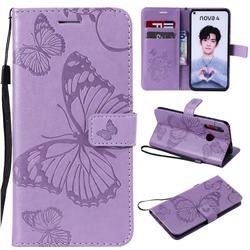 Embossing 3D Butterfly Leather Wallet Case for Huawei nova 4 - Purple