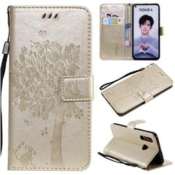Embossing Butterfly Tree Leather Wallet Case for Huawei nova 4 - Champagne