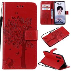 Embossing Butterfly Tree Leather Wallet Case for Huawei nova 4 - Red