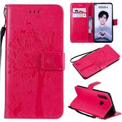 Embossing Butterfly Tree Leather Wallet Case for Huawei nova 4 - Rose