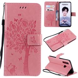 Embossing Butterfly Tree Leather Wallet Case for Huawei nova 4 - Pink