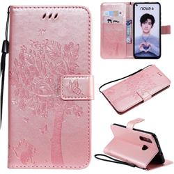 Embossing Butterfly Tree Leather Wallet Case for Huawei nova 4 - Rose Pink