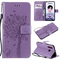 Embossing Butterfly Tree Leather Wallet Case for Huawei nova 4 - Violet