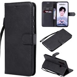 Retro Greek Classic Smooth PU Leather Wallet Phone Case for Huawei nova 4 - Black