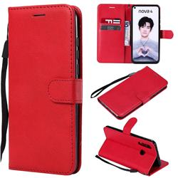 Retro Greek Classic Smooth PU Leather Wallet Phone Case for Huawei nova 4 - Red