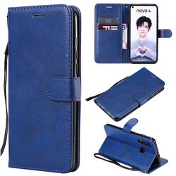 Retro Greek Classic Smooth PU Leather Wallet Phone Case for Huawei nova 4 - Blue