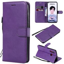 Retro Greek Classic Smooth PU Leather Wallet Phone Case for Huawei nova 4 - Purple