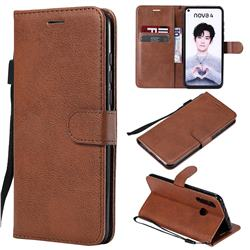 Retro Greek Classic Smooth PU Leather Wallet Phone Case for Huawei nova 4 - Brown