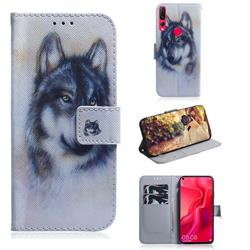 Snow Wolf PU Leather Wallet Case for Huawei nova 4