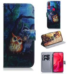 Oil Painting Owl PU Leather Wallet Case for Huawei nova 4