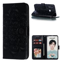 Intricate Embossing Datura Solar Leather Wallet Case for Huawei nova 4 - Black