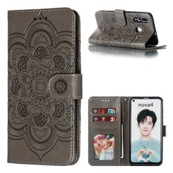 Intricate Embossing Datura Solar Leather Wallet Case for Huawei nova 4 - Gray