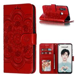Intricate Embossing Datura Solar Leather Wallet Case for Huawei nova 4 - Red