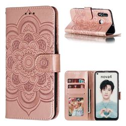 Intricate Embossing Datura Solar Leather Wallet Case for Huawei nova 4 - Rose Gold