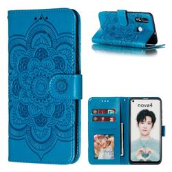 Intricate Embossing Datura Solar Leather Wallet Case for Huawei nova 4 - Blue