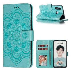Intricate Embossing Datura Solar Leather Wallet Case for Huawei nova 4 - Green