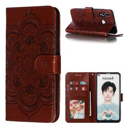 Intricate Embossing Datura Solar Leather Wallet Case for Huawei nova 4 - Brown