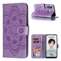 Intricate Embossing Datura Solar Leather Wallet Case for Huawei nova 4 - Purple