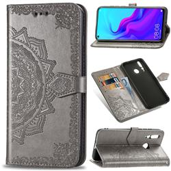 Embossing Imprint Mandala Flower Leather Wallet Case for Huawei nova 4 - Gray