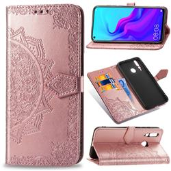 Embossing Imprint Mandala Flower Leather Wallet Case for Huawei nova 4 - Rose Gold