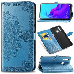 Embossing Imprint Mandala Flower Leather Wallet Case for Huawei nova 4 - Blue