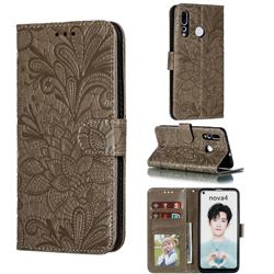 Intricate Embossing Lace Jasmine Flower Leather Wallet Case for Huawei nova 4 - Gray