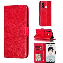 Intricate Embossing Lace Jasmine Flower Leather Wallet Case for Huawei nova 4 - Red