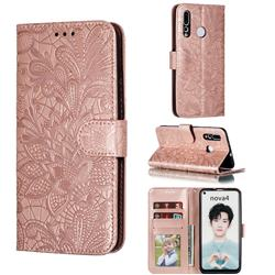 Intricate Embossing Lace Jasmine Flower Leather Wallet Case for Huawei nova 4 - Rose Gold