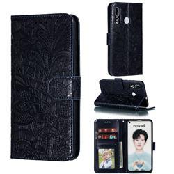 Intricate Embossing Lace Jasmine Flower Leather Wallet Case for Huawei nova 4 - Dark Blue