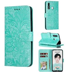 Intricate Embossing Lace Jasmine Flower Leather Wallet Case for Huawei nova 4 - Green