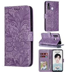 Intricate Embossing Lace Jasmine Flower Leather Wallet Case for Huawei nova 4 - Purple