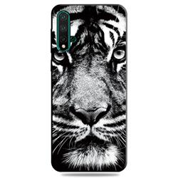 White Tiger 3D Embossed Relief Black TPU Cell Phone Back Cover for Huawei Nova 5 / Nova 5 Pro