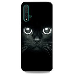 Bearded Feline 3D Embossed Relief Black TPU Cell Phone Back Cover for Huawei Nova 5 / Nova 5 Pro