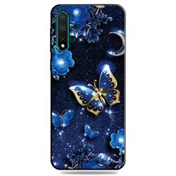 Phnom Penh Butterfly 3D Embossed Relief Black TPU Cell Phone Back Cover for Huawei Nova 5 / Nova 5 Pro
