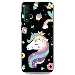 Candy Unicorn 3D Embossed Relief Black TPU Cell Phone Back Cover for Huawei Nova 5 / Nova 5 Pro