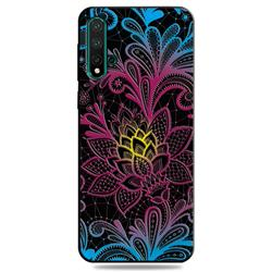 Colorful Lace 3D Embossed Relief Black TPU Cell Phone Back Cover for Huawei Nova 5 / Nova 5 Pro