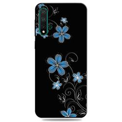 Little Blue Flowers 3D Embossed Relief Black TPU Cell Phone Back Cover for Huawei Nova 5 / Nova 5 Pro