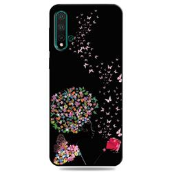 Corolla Girl 3D Embossed Relief Black TPU Cell Phone Back Cover for Huawei Nova 5 / Nova 5 Pro