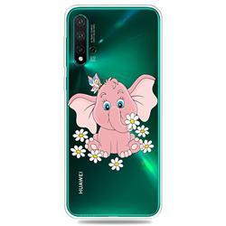 Tiny Pink Elephant Clear Varnish Soft Phone Back Cover for Huawei Nova 5 / Nova 5 Pro