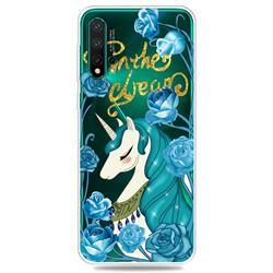 Blue Flower Unicorn Clear Varnish Soft Phone Back Cover for Huawei Nova 5 / Nova 5 Pro