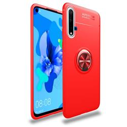 Auto Focus Invisible Ring Holder Soft Phone Case for Huawei Nova 5 / Nova 5 Pro - Red