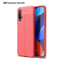 Luxury Auto Focus Litchi Texture Silicone TPU Back Cover for Huawei Nova 5 / Nova 5 Pro - Red