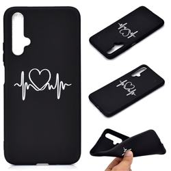 Heart Radio Wave Chalk Drawing Matte Black TPU Phone Cover for Huawei Nova 5 / Nova 5 Pro