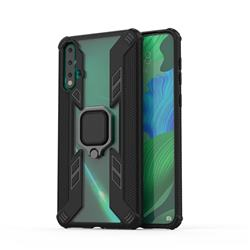 Predator Armor Metal Ring Grip Shockproof Dual Layer Rugged Hard Cover for Huawei Nova 5 / Nova 5 Pro - Black