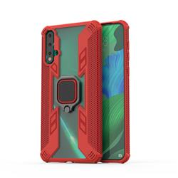 Predator Armor Metal Ring Grip Shockproof Dual Layer Rugged Hard Cover for Huawei Nova 5 / Nova 5 Pro - Red