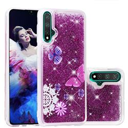 Purple Flower Butterfly Dynamic Liquid Glitter Quicksand Soft TPU Case for Huawei Nova 5 / Nova 5 Pro