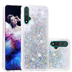 Dynamic Liquid Glitter Quicksand Sequins TPU Phone Case for Huawei Nova 5 / Nova 5 Pro - Silver