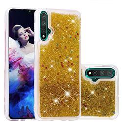 Dynamic Liquid Glitter Quicksand Sequins TPU Phone Case for Huawei Nova 5 / Nova 5 Pro - Golden